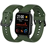 Th-some Correa para Amazfit GTS Smartwatch Reloj de Pulsera Compatible con Amazfit GTS/Amazfit Bip/Amazfit GTR 42mm Band Silicona - Verde Ejercito
