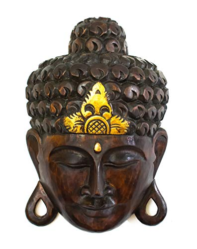 G6 COLLECTION 12' Wooden Wall Mask Serene Buddha Head Black Statue Hand Carved Sculpture Handmade Figurine Gift Decorative Home Decor Accent Rustic Handcrafted Art Wall Hanging Decoration Buddha Face Mask Black