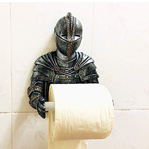 Siunwdiy Mittelalterliche Ritter in Toilettenpapier-Rolle Gothic, Badezimmer-Wand-Dekoration, Toilettenpapierhalter Oben für Fantasy Fantasy Geschenke,H25*W18cm