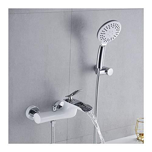 Wasserfall-Wannen-Wasserhahn mit ABS-Handbrause, Weiß und Chrom Badewannenarmatur Einhandgriff Wannenarmatur Wandmontage Wannenfüller Wasserhahn für Badezimmer
