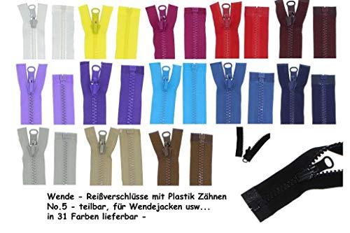 zipworld Wende - Reißverschluss Kunststoff Zähne teilbar 5-6mm WPZ schwarz-322 (40cm)