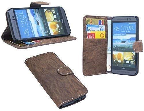 ENERGMiX Elegante Buch-Tasche für das HTC ONE (M9) in Braun Wallet Book-Style