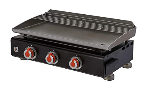 BRASERO - Plancha Silvia II G Noir 3 Feux Surface Cuisson 67 x 34 cm - 3 brûleurs - Plaque INOX - Grille de réchauffement - Piezo intégré - Tiroir Graisse - Jusqu'à 8/10 convives - 7,5 KW