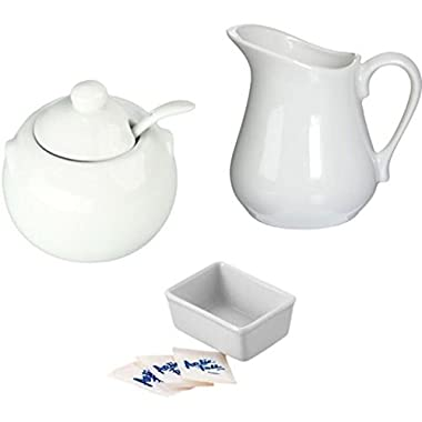 Porcelain White Creamer and Sugar Bowl with Lid & Spoon Plus Sweetener Packets Holder - Set of 3