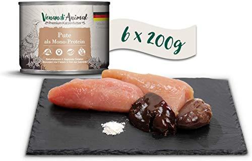 Venandi Animal Premium Nassfutter für Katzen, Pute als Monoprotein 6 x 200 g, getreidefrei und naturbelassen, 1.2 kg