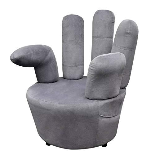 XINGLIEU Entspannter und erfrischender Sessel, Handform, Samt, Grau, 73,5 x 73,5 x 95 cm