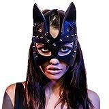 YEKKU Halloween Sexy Katzenmaske, Cosplay Cat PU Ledernietmaske Katzenohr Halbgesichtsmaske Frauen Mädchen Sexy Katzenohr Schwarze Maske für Halloween Cosplay Party Prom Kostüm