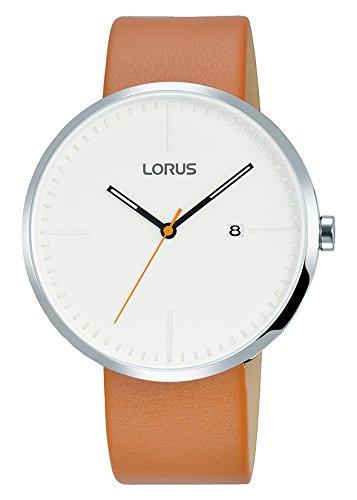 Lorus Fashion Herren-Uhr Edelstahl mit Lederband RH901JX9