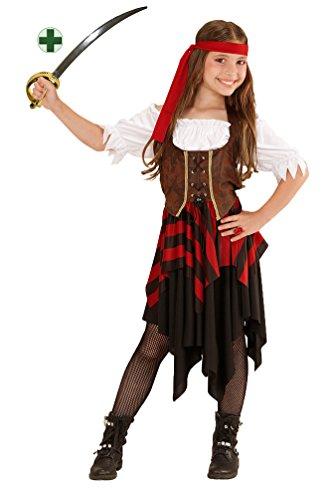 Karneval-Klamotten Piraten-Kostüm Piratin Kinder Mädchen Piratenbraut Kinderkostüm schwarz-rot-weiß-braun inkl. Piraten-Säbel