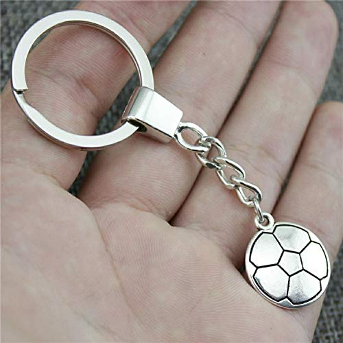 YCEOT Fußball-Schlüsselring-Fußball Keychain 22X19Mm antike Silberne Fußball-Schlüsselketten-Andenken-Geschenke für Männer