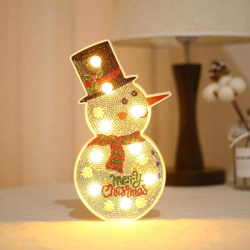 RZC DIY Diamond Painting Led Light Christmas Tree Snowman Night Light Diamond Christmas Creative Table Lamp Snowman(2514cm)