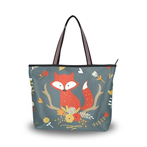 Leila Marcus Damen-Handtasche mit Tragegriff, Fuchs und Blumen