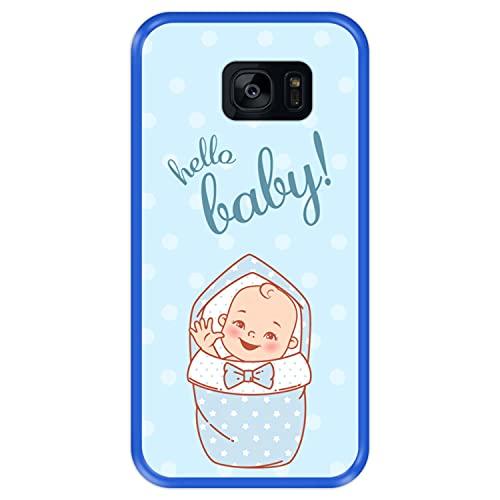 Hapdey Funda Azul para [ Samsung Galaxy S7 Edge ] diseño [ Bienvenido, Hola bebé ] Carcasa Silicona Flexible TPU