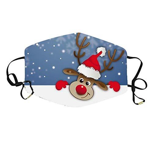 Sonojie Mundschutz Halstuch Waschbar Bandana mit Weihnachten Motiv Lustige Multifunktionstuch Mund und Nasenschutz Staubdicht Motorrad Herren Damen Sturmhaube