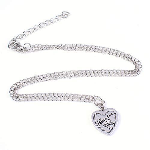 Ai.Moichien Collar De Cadena con Colgante para Mujer Corazón Mariposa Plateado Clavícula Bohemio Elegante Regalos De Amistad