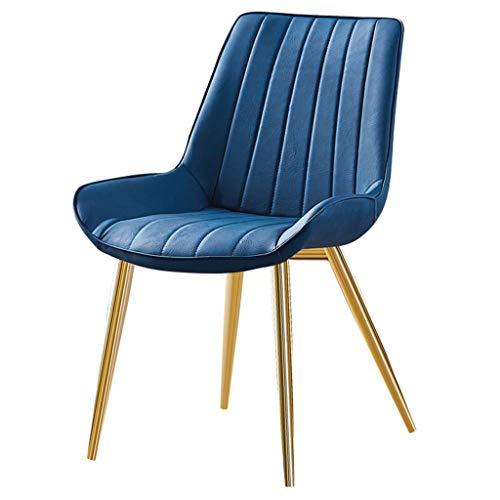 Yuansr Ocio Hierro Silla Simple Arte de Cuero Silla de Comedor Moderno con Patas de Metal Comedor Salón sillas de la recepción (Color : Blue)
