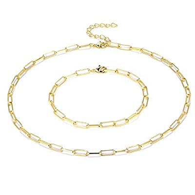 ALEXCRAFT 14K Gold Plated Dainty Paperclip Link Chain Choker Necklace and Bracelet for Women Girls
