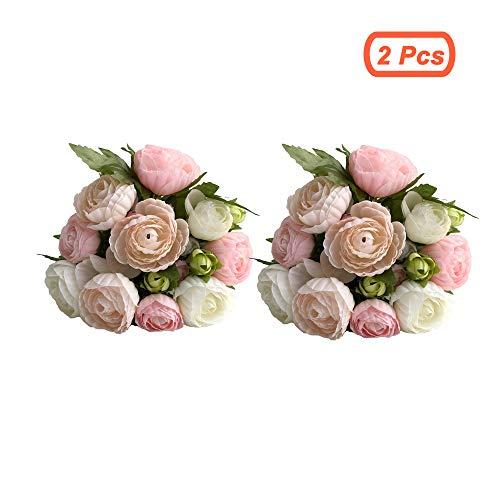 simoce Künstliche Blumen 10 Köpfe persische Buttercup Crowfoot Ranunculus Hochzeit Braut Hand gebunden Blumenstrauß Heimdekoration Seide Lustring Fake Decor Blumen 7,9H x 6,3W Zoll White-pink(2pcs)