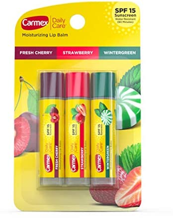 Carmex Daily Care Moisturizing Lip Balm Pack, Lip Balm With Sunscreen in Fresh Cherry, Strawberry and Wintergreen - 3 Count
