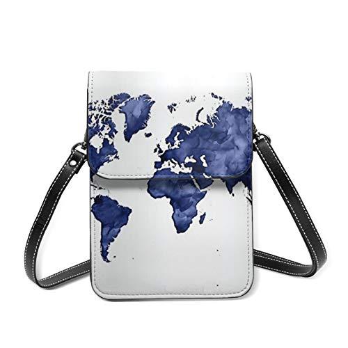 Azul marino oscuro Acuarela Mapa del Mundo Mujeres Pequeño Crossbody Teléfono Teléfono Móvil Bolsas de Hombro Titular de la Tarjeta Monedero