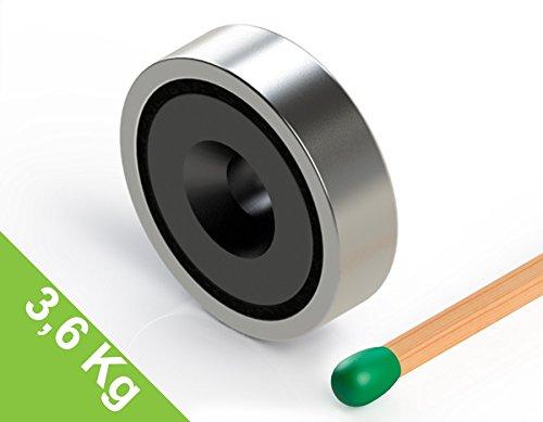 Topfmagnet Ferrit 25x7 mm mit Bohrung und Senkung