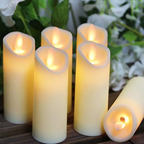 LED Flameless Candles, 6 Pcs LED Candles Battery Operated Plastic Pillar Flickering Candle Light for Party Decor