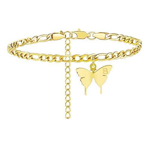 TONY & SANDY Butterfly Initial Ankle Bracelet 18K Gold Plated Anklet Charm with Letter Alphabet Engraved Stainless Steel Figaro Link Chain Personalized Adjustable Barefoot Jewelry for Women Teen Girl