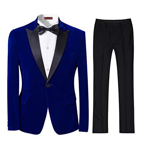 Mens 2-piece Suit Peaked Lapel One Button Tuxedo Slim Fit Dinner Jacket & Pants, Blue, X-Large