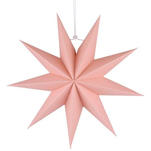 Fablcrew Rosa Paper lampshade Kreativer Stern-Origami-Lampenschirm mit neun Zacken Stern Origami Lampenschirm Jahrestreffen-Ereignisplan-Parteipapier des Weihnachtsmall-Fensters Christbaumschmuck 30cm