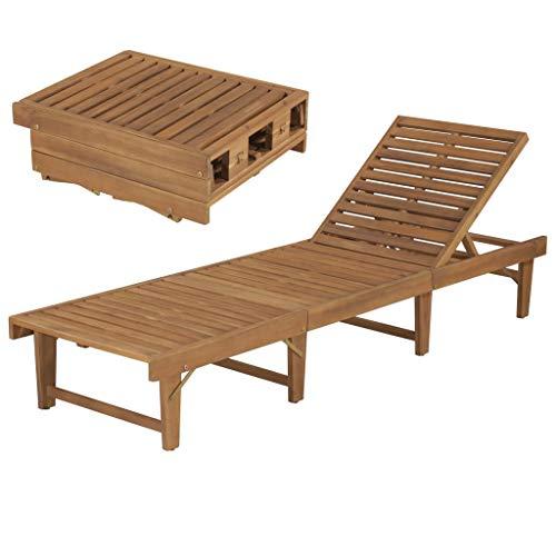 Tidyard Klappbar Liegestuhl Sonnenliege Holz Wetterfest, Gartenliege Relaxliege Holzliege, Verstellbar Rückenlehne für Garten Terrasse Schwimmbad, 200x61x30/86 cm