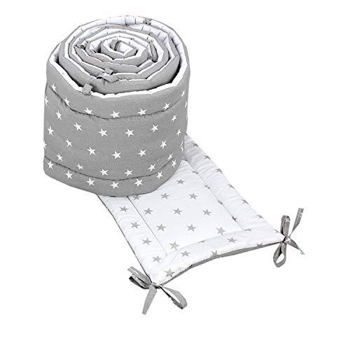 TupTam Babybett Bettumrandung Lang 2-seitig Gemustert Nest, Farbe: Sterne Grau/Weiß, Größe: 360x30cm (für Babybett 120x60)