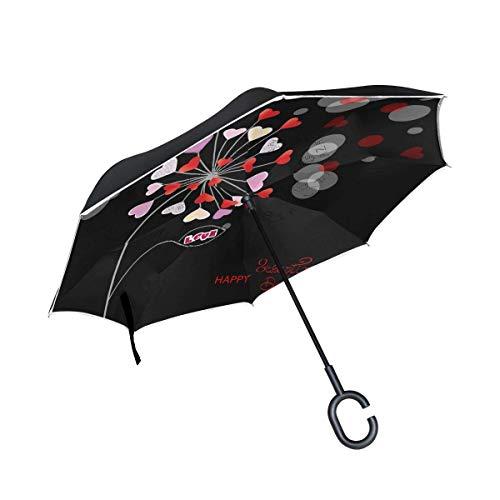 ETGeed Umgekehrter Regenschirm Happy Valentinstag Vorlage Reverse Umbrella