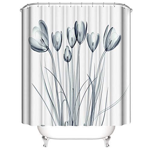 Xmiral Duschvorhänge Wasserdicht Blätter Gedruckte Polyester Badezimmer Gardinemit 12 Haken 180x180cm(B)