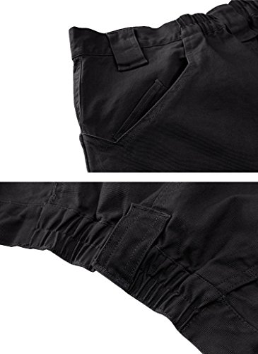 TACVASEN Cotton Trousers Mens Cargo Combat Trousers Military Mens Winter Tactical Airsoft Paintball Pants Black