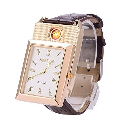 TLXM Quartz Watch Lighter, Women's Fashion Wristwatches, USB Rechargeable Windproof Flameless Cigarette Lighter (Gold&White)