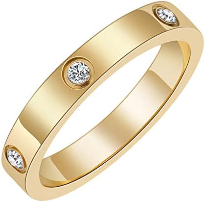 Chrishine Life Love Friendship Ring 18K Gold Plated Silver with Cubic Zirconia Stones Stainless product image
