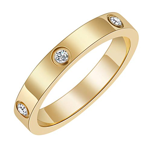 Chrishine Life Love Friendship Ring 18K Gold Plated Silver with Cubic Zirconia Stones Stainless Steel Promise Ring Wedding Band Jewelry Birthday Present for Her Women Teen Girls, Size from 5 to 10