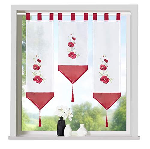 heimtexland ® Scheibengardinen Set 3-teilig Lamellen Gardine Transparent Bestickt mit Schlaufen Rot Mohnblumen Typ710