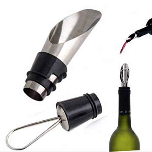 Tapones de vino de acero inoxidable vertedores de vino embudo botella vertedor vertedor tapón de vino herramientas para los amantes del vino