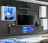 ASM SWITCH XXIII - Mueble de pared (250 cm de ancho, cristal para puertas con pulsador de clic, luces LED, color gris y blanco brillante