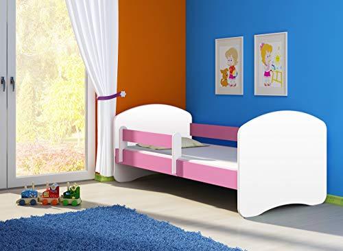 Clamaro 'Fantasia Basic' 140 x 70 Kinderbett Set inkl. Matratze und Lattenrost, mit verstellbarem Rausfallschutz und Kantenschutzleisten - Farbe: Weiß/Rosa