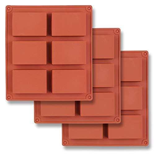 homEdge Moule en silicone rectangulaire à 6 empreintes, 3 paquets de moules rectangulaires pour la fabrication de pains de savon, de résine, de chocolat, de bougies de savon et de gelée brune