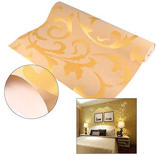 Papel pintado de diseño barroco, Mural de papel tapiz no tejido, Adorno de damasco Papel tapiz óptico tridimensional dorado para sala de estar Telón de fondo de TV de hotel
