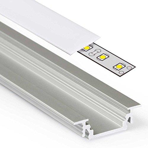 GROOVE (GR) Einbau Aluminium Profil Leiste eloxiert   L - 2m x B - 1,80cm x H - 0,62cm   Alu Kanal für LED Streifen + Acryl Abdeckung milchig-weiß opal + 2X Endkappen   Aluprofil für Stripes bis 10,4mm Breite +belastbar