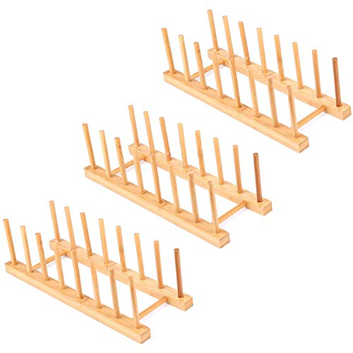Uniquk 3 Pack Bamboo Wooden Dish Rack - Plate Rack Stand Pot Lid Holder, Kitchen Cabinet Organizer for Bowl, Cup, Cutting Board and More