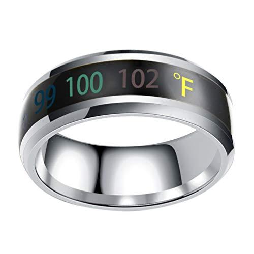 Happyyami Temperaturmonitor Ring Fahrenheit Digital Thermometer Körpertemperatur Smart Ringe Stahlband Fingerring Nr. 11