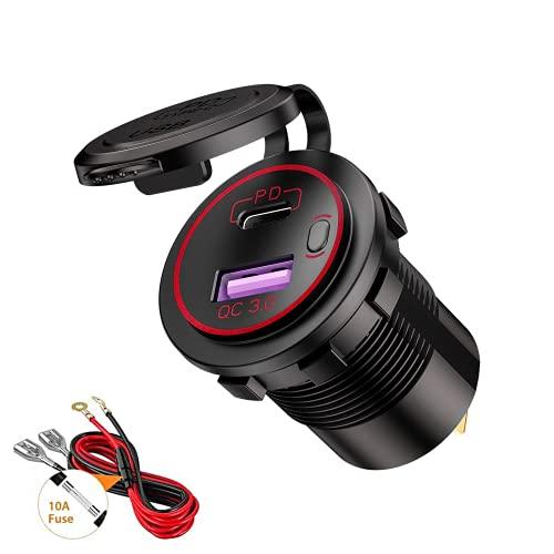Thlevel Tipo C PD y QC3.0 Toma USB Coche 12V / 24V Cargador de Coche Impermeable con Interruptor y LED Indicador para Coches, Motos, Vehículos Recreativos, Camiones, Barcos (Rojo)