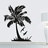 zqyjhkou Flying Bird and Palm Tree Wall Sticker Seaside Scenery hroom Decoración para el hogar DIY Vinilo extraíble Wall M123x97cm