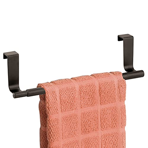 """mDesign Adjustable, Expandable Kitchen Over Cabinet Towel Bar Rack - Hang on Inside or Outside of Doors, Storage for Hand, Dish, Tea Towels - Customizable to 17"""" Wide - Bronze"""