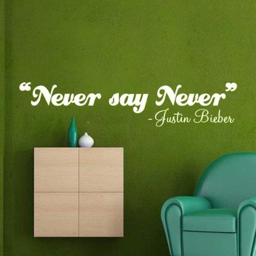 Windsor Designers Sticker Mural – Never Say Never, Justin Bieber, décoration Murale, Citation, transférer, Chambre à Coucher (1L), Noir, Medium -Size 90cm x 30cm